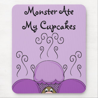 Cute Monster With Purple Frosted Cupcakes Mousepad