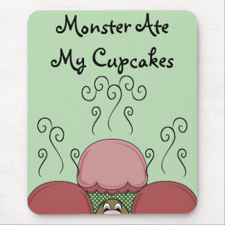 Cute Monster With Red And Green Frosted Cupcakes Mousepad
