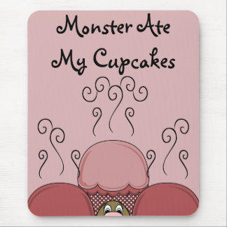 Cute Monster With Red Frosted Cupcakes Mouse Pad
