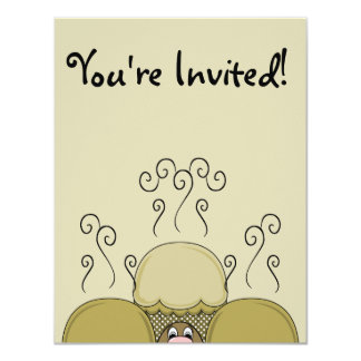 Cute Monster With Yellow Frosted Cupcakes Invite