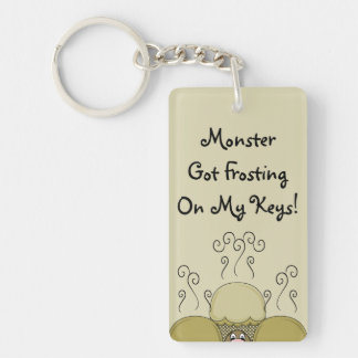 Cute Monster With Yellow Frosted Cupcakes Double-Sided Rectangular Acrylic Key Ring