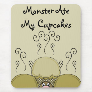 Cute Monster With Yellow Frosted Cupcakes Mousepad