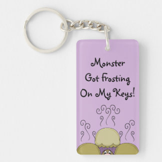 Cute Monster With Yellow & Purple Frosted Cupcakes Double-Sided Rectangular Acrylic Key Ring
