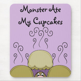 Cute Monster With Yellow & Purple Frosted Cupcakes Mousepads