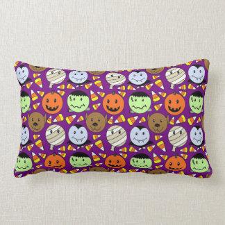 Cute Monsters And Candy Corn Lumbar Cushion