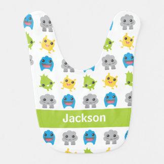 Cute Monsters Green Teal Blue Kids Personalized Bib