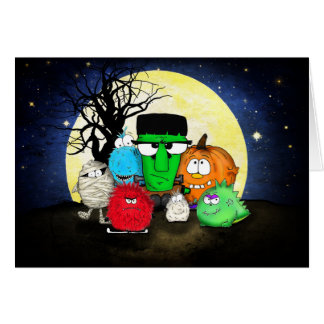 Cute Monsters Happy Halloween Card