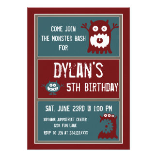 Cute Monsters Kids Birthday Party Invitations