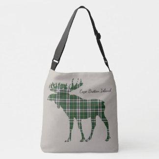 Cute moose Cape Breton tartan travel shoulder  Bag