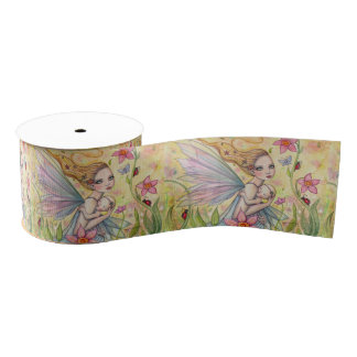 Cute Mother and Baby Girl Fairy Fantasy Art Grosgrain Ribbon