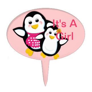 Cute Mother And Baby Penguin It's A Girl Cake Pick