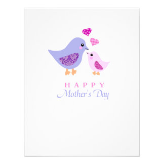 Cute mother and child birds mother's day invites