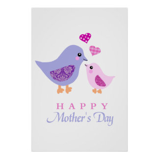 Cute mother and child birds mother's day poster