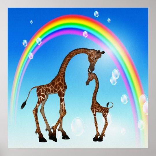 Cute Mother & Baby Giraffe & Rainbow Poster