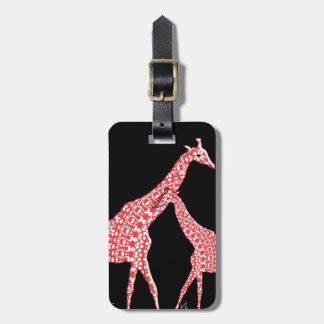 Cute Mother Baby Whimsical Pattern Giraffe Orange Luggage Tag