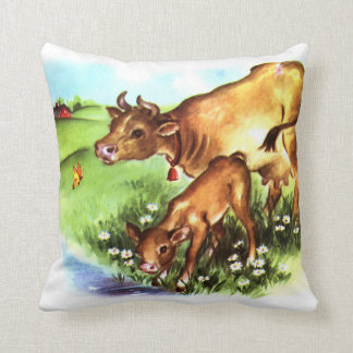 Cute Mother Cow & Baby Calf Vintage Storybook Art Throw Pillow