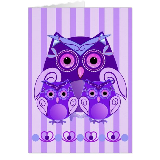 Cute Mother's day card with Owls and text