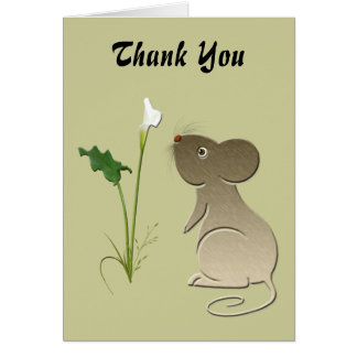 Cute mouse and Calla lily art Card