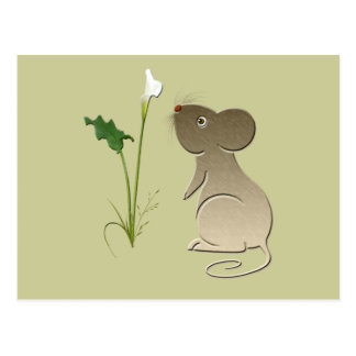 Cute Mouse and Calla lily design Postcard