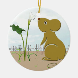 Cute Mouse and Calla lily Ornament