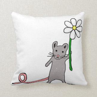 Cute Mouse And Flower Art Cushion