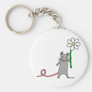 Cute Mouse And Flower Art Key Ring