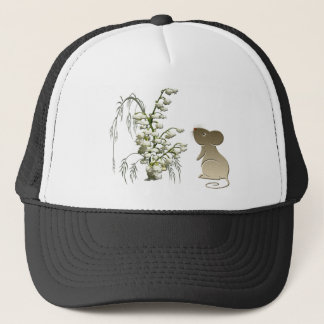 Cute Mouse and Lily of the Valley Trucker Hat