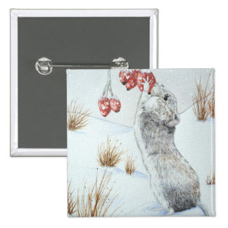 Cute mouse and red berries snow scene wildlife art buttons