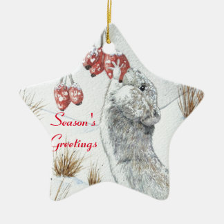 Cute mouse and red berries snow scene wildlife art christmas ornament