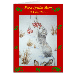 Cute mouse and red berries snow scene wildlife art greeting card
