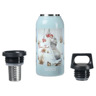 Cute mouse and red berries snow scene wildlife art insulated water bottle
