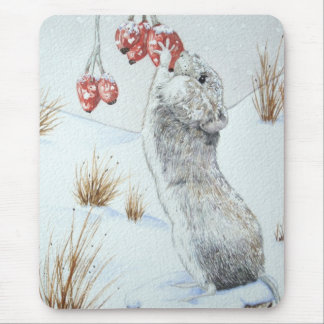 Cute mouse and red berries snow scene wildlife art mousepads