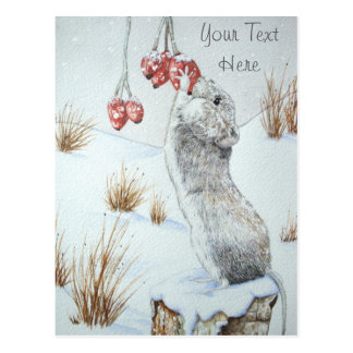 Cute mouse and red berries snow scene wildlife art postcard