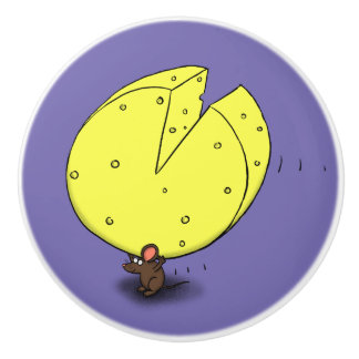 Cute mouse carrying cheese cartoon ceramic knob