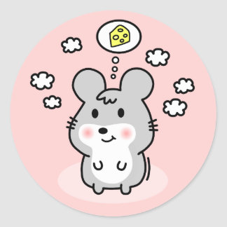 cute mouse cheese dream classic round sticker