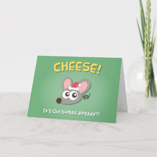 Christmas Cheese Puns.Cute Mouse Cheese Its Christmas Pun Greeting Card