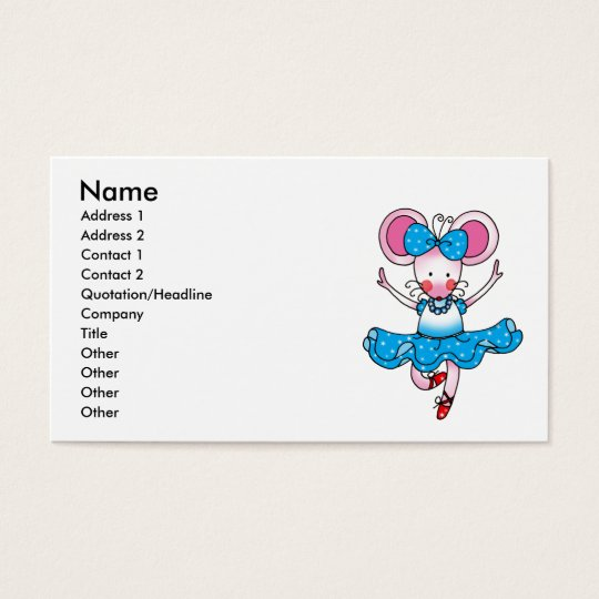 Cute mouse girl ballerina business card
