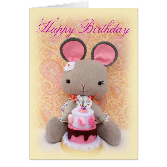 Cute Mouse Girl Doll with Cake Birthday Card
