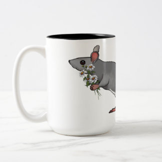 Cute Mouse Holding A Bouquet of Daisies Two-Tone Coffee Mug