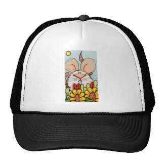 Cute Mouse in colorful scene of flowers and nature Cap