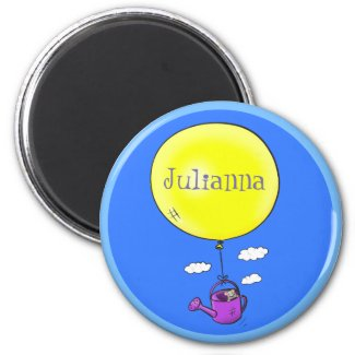 Cute mouse in watering can with balloon cartoon magnet