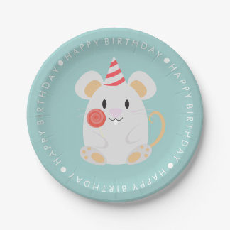 Cute Mouse Kids Birthday Party Paper Plate