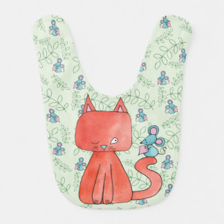 Cute Mouse Loves Kitty Cat Baby Bib