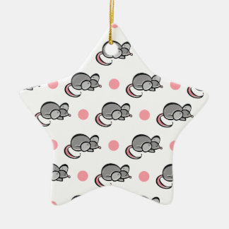 Cute Mouse, Mice, Pink and White Polka Dots Ceramic Star Decoration