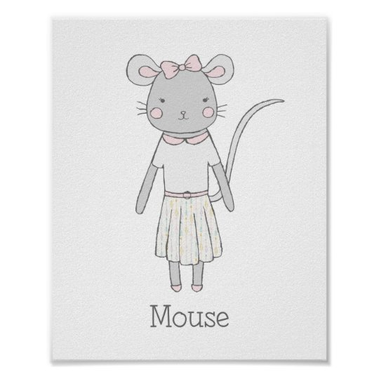 Cute Mouse Nursery Art Poster