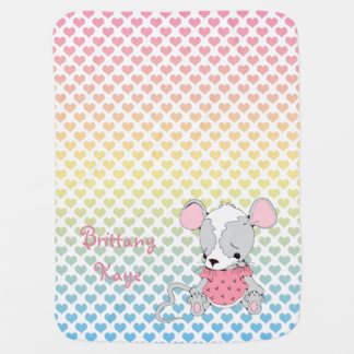 Cute Mouse Personalized Rainbow Hearts Pramblanket