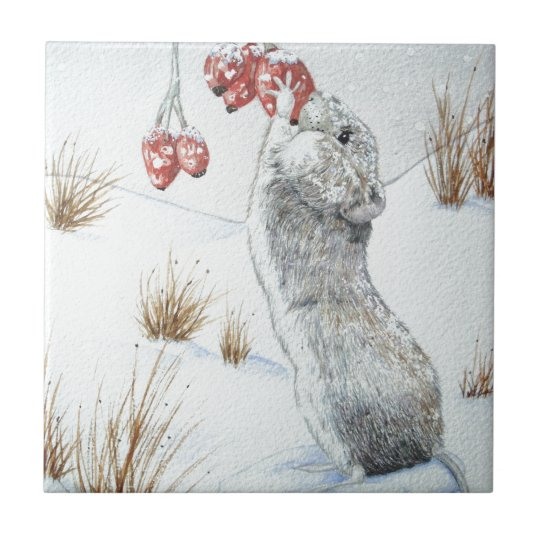 Cute mouse red berries snow scene wildlife design