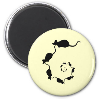 Cute Mouse Spiral. Black Mice on Cream. 6 Cm Round Magnet