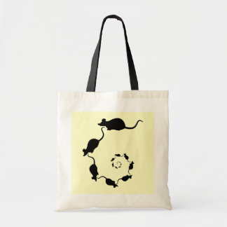 Cute Mouse Spiral. Black Mice on Cream. Budget Tote Bag