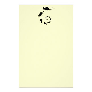 Cute Mouse Spiral. Black Mice on Cream. Custom Stationery